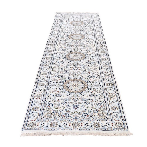Wool And Silk 250 KPSI Ivory Nain Hand Knotted Oriental Runner
