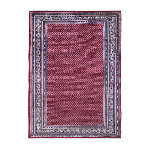 Red New Persian Sarouk Mir Full Pile With Repetitive Design Pure Wool Oriental