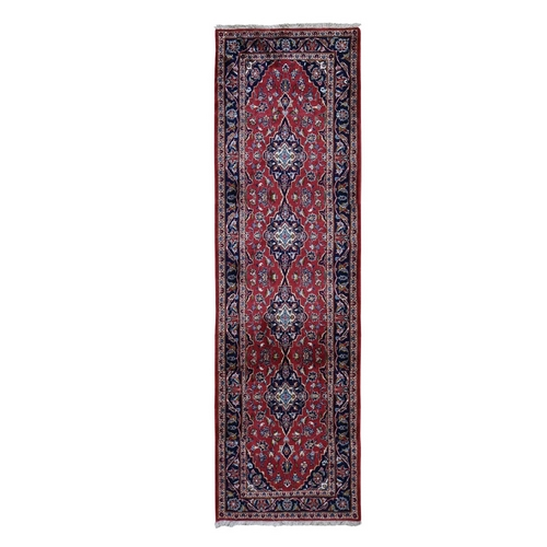Red New Persian Kashan Full Pile Runner Pure Wool hand Knotted Oriental