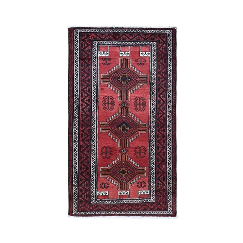 Light Red Vintage Persian Baluch Exc Cond Pure Wool Hand Knotted Oriental