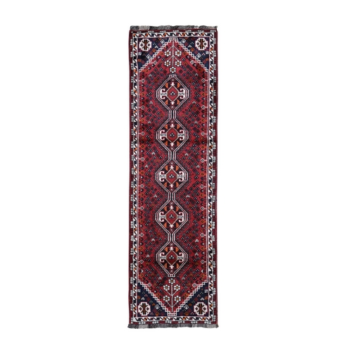 Red New Persian Shiraz Pure Wool Runner Hand Knotted Tribal Design Bohemian