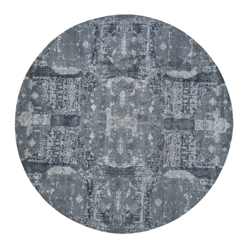 Round Gray Wool And Pure Silk Jewellery Design Hand Knotted Oriental Rug