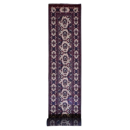 Red Khamyab XL Runner Pure Wool Hand Knotted Oriental