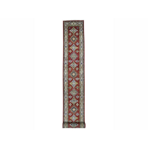 Super Kazak Red Geometric Design Pure Wool Hand-Knotted XL Runner Oriental