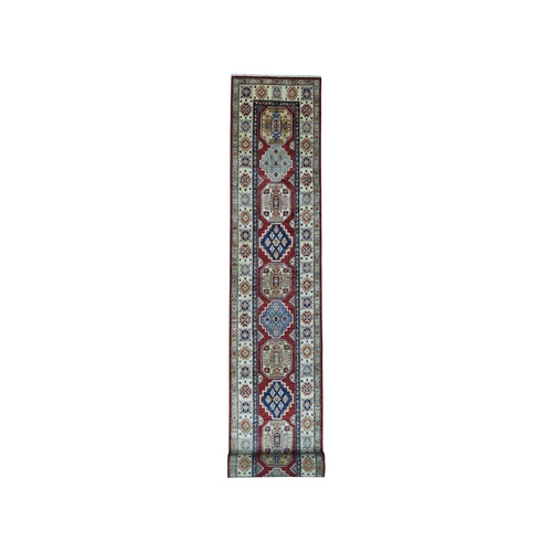 Red Super Kazak Pure Wool Geometric Design XL Runner Hand-Knotted Oriental Rug