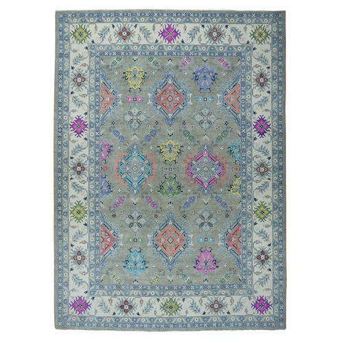Colorful Fusion Kazak Geometric Design Pure Wool Hand-Knotted Oriental