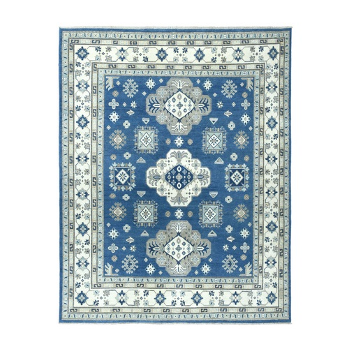 Denim Blue Vintage Look Kazak Geometric Design Hand-Knotted Oriental