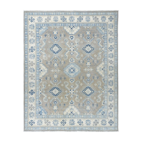 Gray Vintage Look Kazak Geometric Design Pure Wool Hand-Knotted Oriental