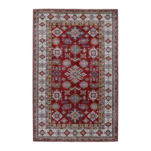 Red Super Kazak Pure Wool Geometric Design Hand-Knotted Oriental