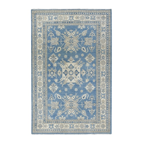 Hand Knotted Blue Vintage Look Kazak Pure Wool Oriental