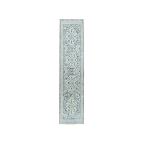 White Wash Peshawar Pure Wool Hand-Knotted Runner Oriental