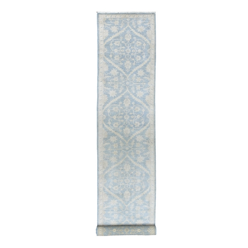 White Wash Peshawar Pure Wool Hand-Knotted XL Runner Oriental