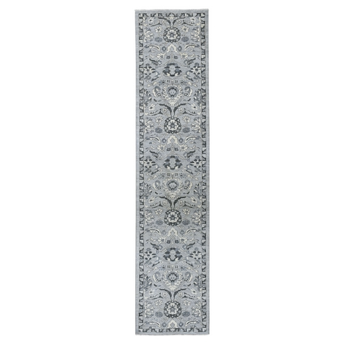 Undyed Natural Wool Mahal Design Runner Hand Knotted Oriental