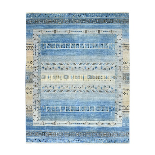 Blue Kashkuli Gabbeh Pictorial Pure wool Hand-knotted Oriental