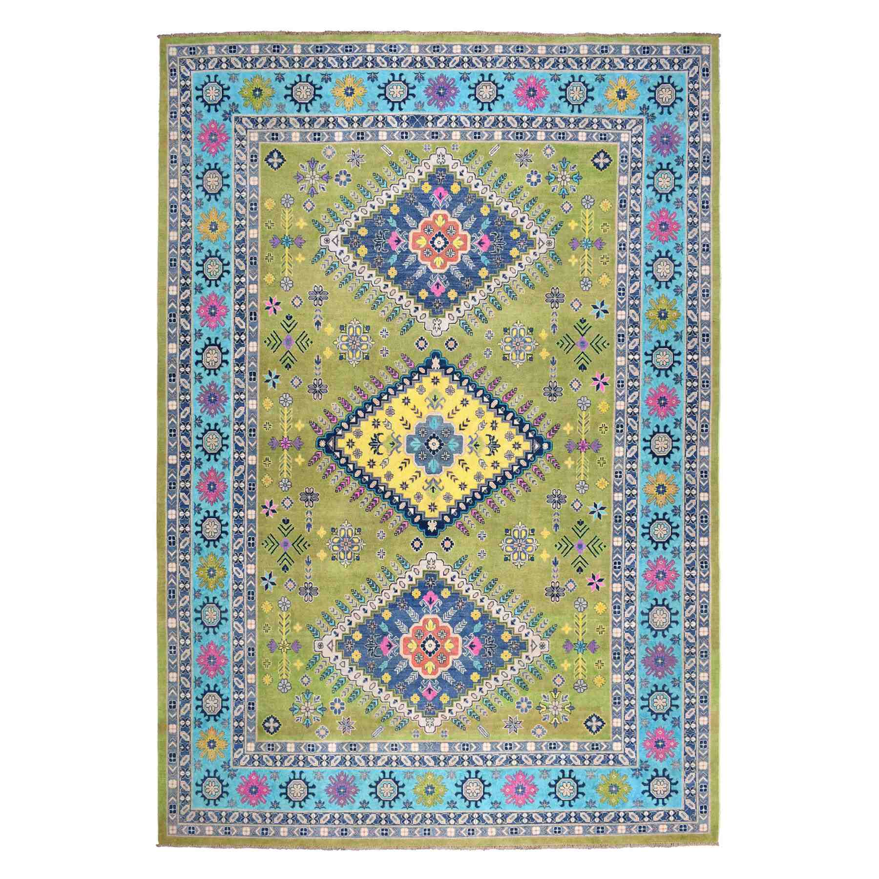 Colorful Yellow Fusion Kazak Pure Wool Hand-Knotted Oriental