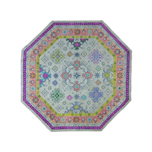 Gray Heptagon Colorful Fusion Kazak Pure Wool Hand Knotted Oriental