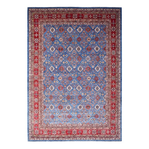 Oversized Blue Super Kazak Geometric Design Pure Wool Hand-Knotted Oriental
