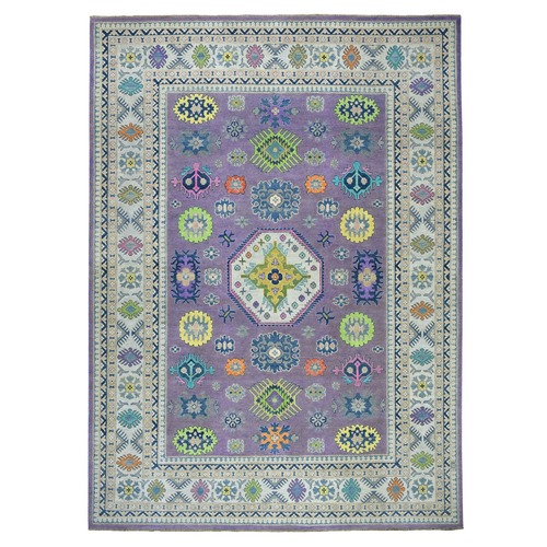 Purple Colorful Fusion Kazak Pure Wool Geometric Design Hand-Knotted Oriental