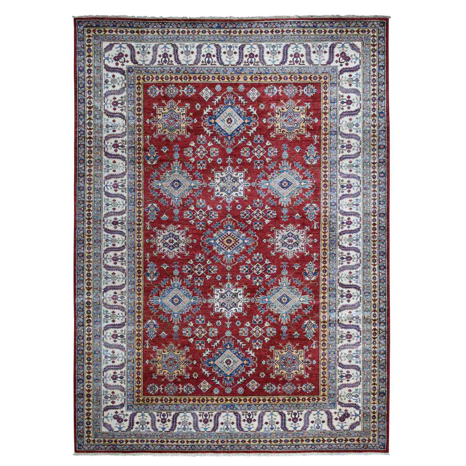 Red Super Kazak Pure Wool Geometric Design Hand Knotted Oriental