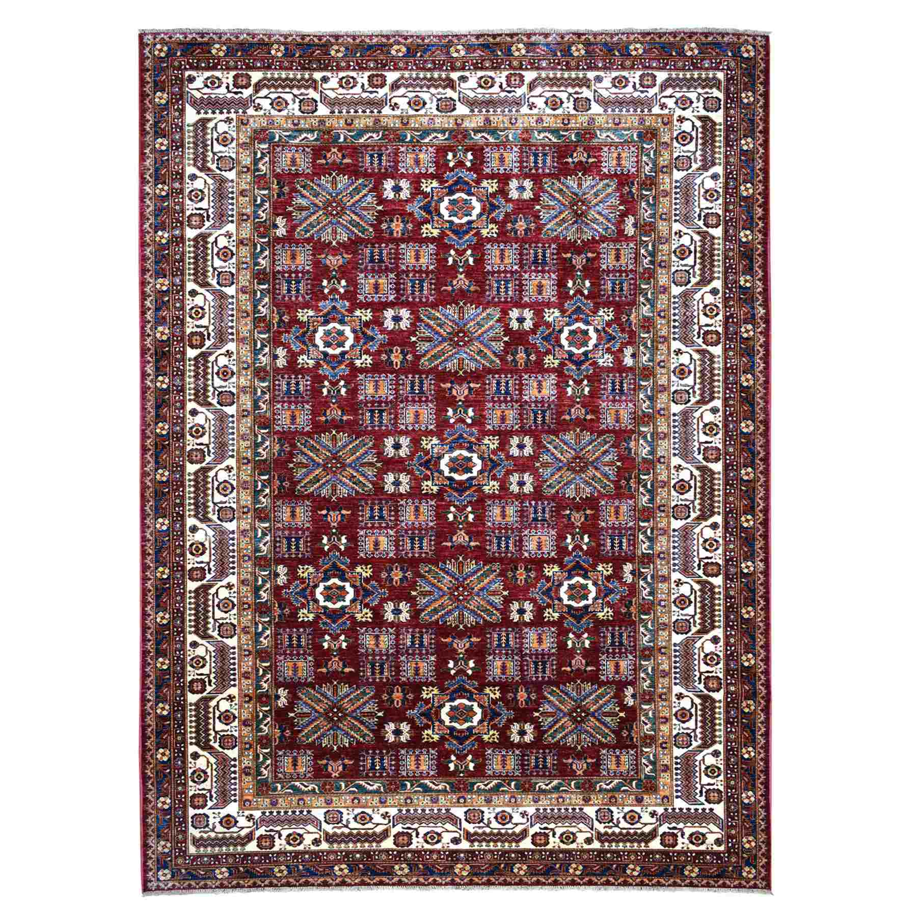 Hand Knotted Red Super Kazak Geometric Design Pure Wool Oriental Rug