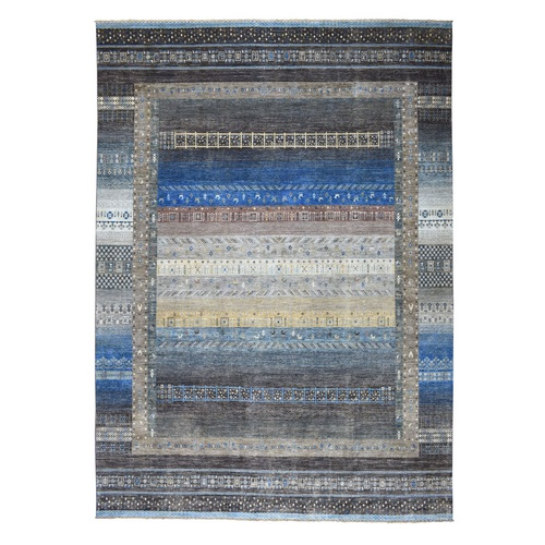 Grey Oversize Pure Wool Kashkuli Gabbeh Pictorial Hand Knotted Oriental Rug