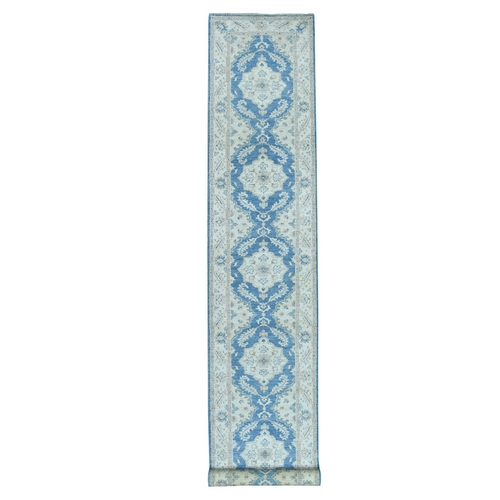 White Wash Blue Peshawar Pure Wool Hand Knotted Oriental XL Runner