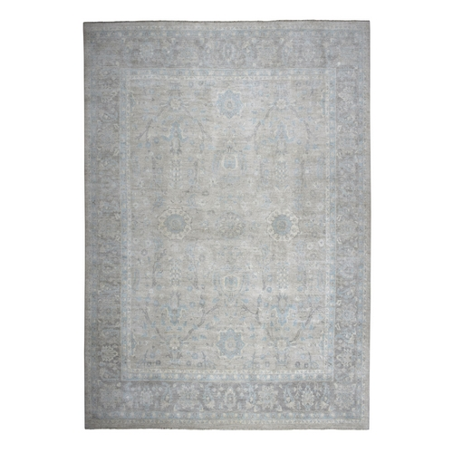 Oversized White Wash Peshawar Hand-Knotted Pure Wool Oriental