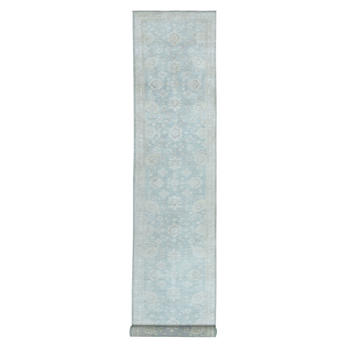 White Wash Peshawar Pure Wool Hand Knotted Oriental XL Runner