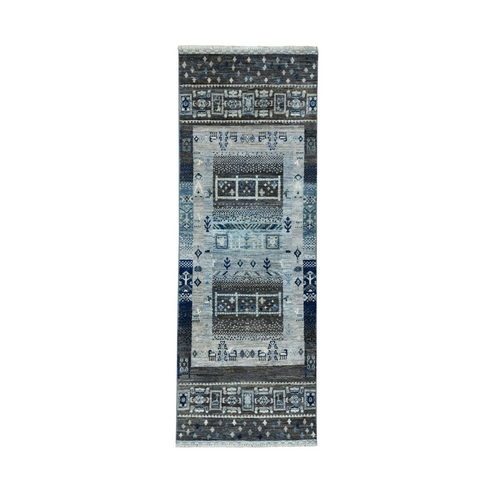 Gray Kashkuli Gabbeh Pictorial Pure Wool Hand Knotted Runner Oriental