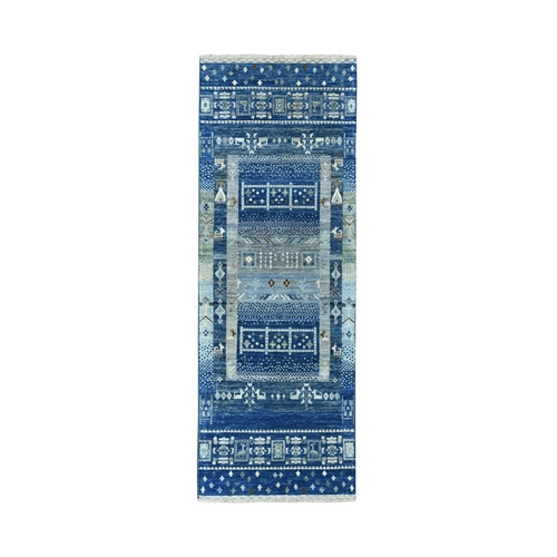 Denim Blue Kashkuli Gabbeh Pictorial Pure Wool Hand Knotted Runner Oriental