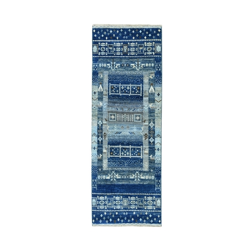 Blue Pure Wool Kashkuli Gabbeh Pictorial Runner Hand Knotted Oriental