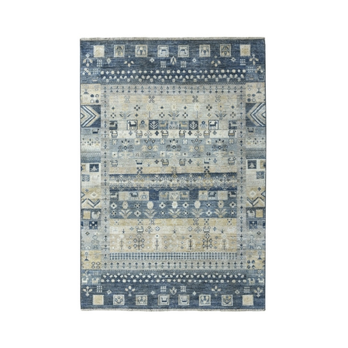 Gray Kashkuli Gabbeh Pictorial Pure Wool Hand Knotted Oriental