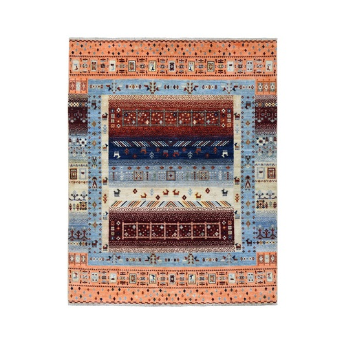 Pure Wool Kashkuli Gabbeh Pictorial Hand Knotted Oriental Rug