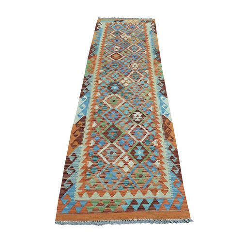 Colorful Afghan Kilim Pure Wool Hand Woven Runner Oriental
