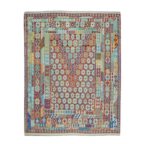 Colorful Afghan Killim Pure Wool Hand Woven Oriental