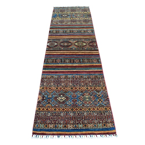Khorjin Design Colorful Runner Super Kazak Pure Wool Hand Knotted Oriental