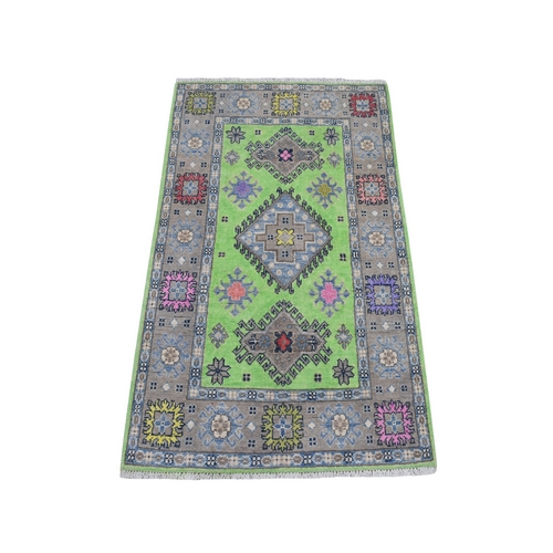 Colorful Green Fusion Kazak Pure Wool Hand Knotted Oriental