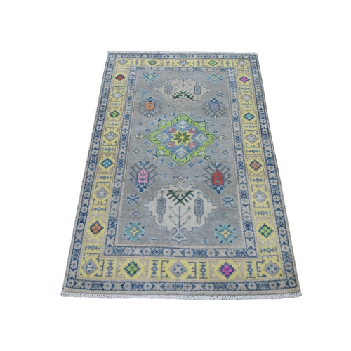 Colorful Gray Fusion Kazak Pure Wool Geometric Design Hand Knotted Oriental