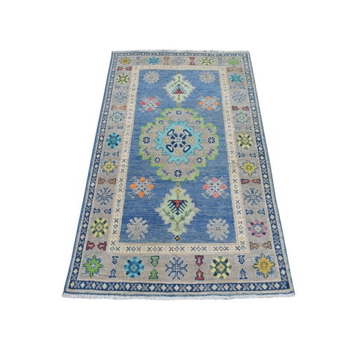 Colorful Blue Fusion Kazak Pure Wool Hand Knotted Oriental