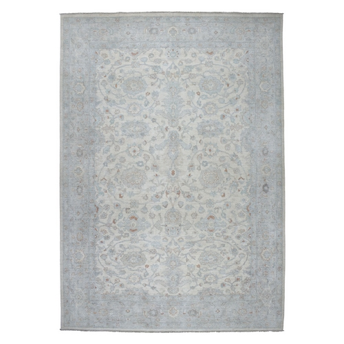 White Wash Peshawar Pure Wool Hand Knotted Oriental