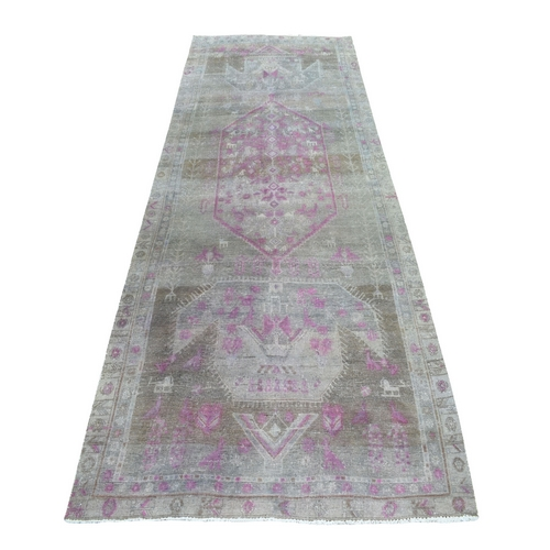 Pink Vintage Persian Tabriz Worn Pile Wide Runner Hand Knotted Oriental