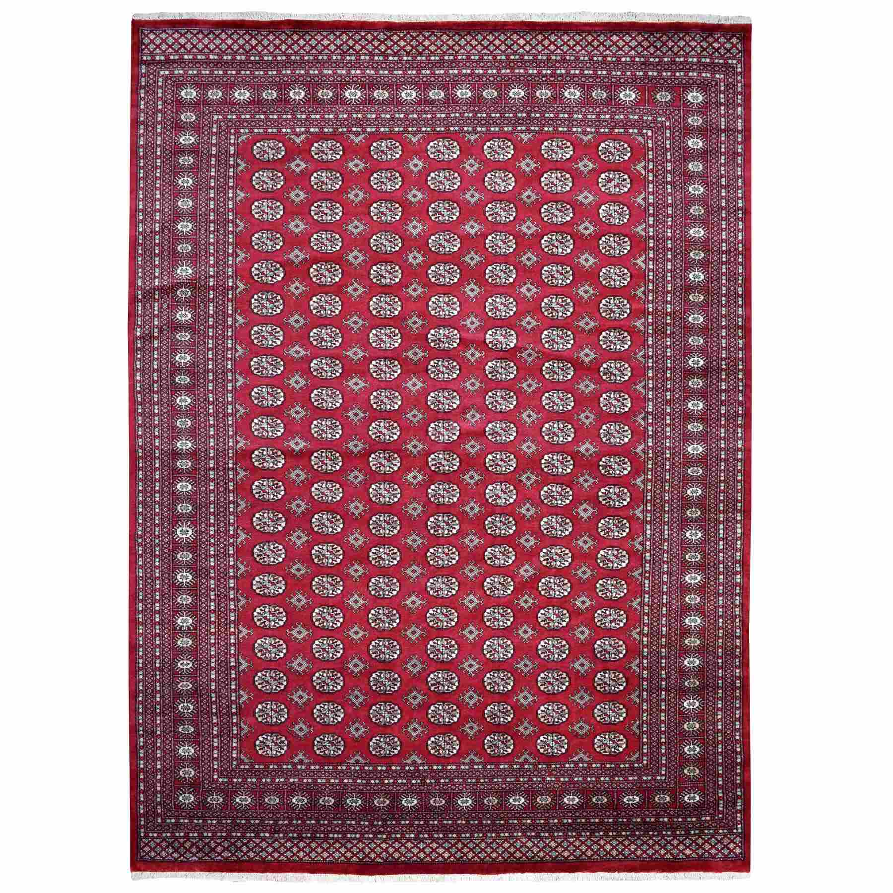Red Mori Bokara Elephant Feet Design Pure Wool Hand Knotted Oriental Rug