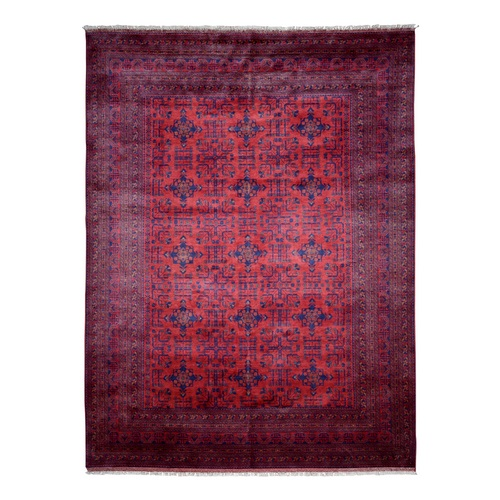 Deep and Saturated Red Geometric Afghan Andkhoy Pure Wool Hand Knotted Oriental