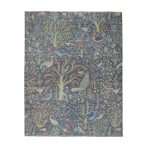 Grey Birds of Paradise Peshawar Pure Wool Hand Knotted Oriental Rug