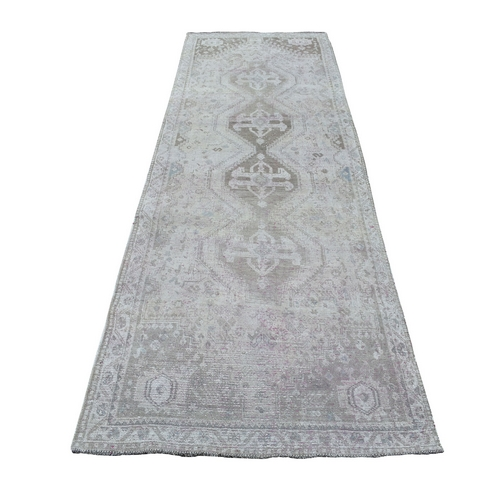 Vintage And Worn Down Distressed Colors Persian Shiraz Wide Runner Hand Knotted Bohemian