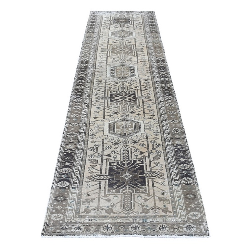 Vintage Worn Down Persian karajeh Runner Hand Knotted Pure Wool Oriental