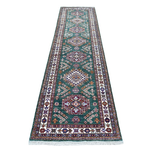 Afghan Green Super Kazak Runner Tribal Design Natural Wool Oriental