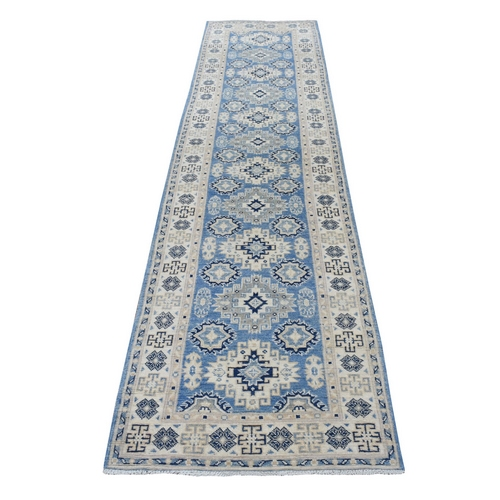 Blue Afghan Vintage Look Kazak Tribal Design Organic Wool Hand Knotted Runner Oriental