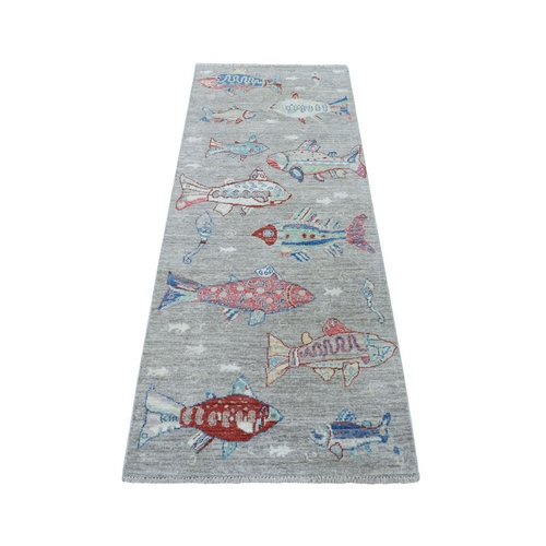 Gray Oceanic Fish Design 100% Wool Afghan Peshawar Hand Knotted Oriental Rug