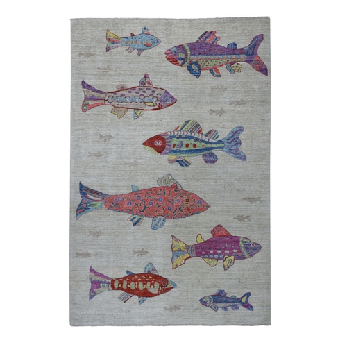 Oceanic Fish Design Pure Wool Afghan Peshawar Hand Knotted Oriental Rug